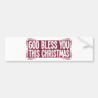 Dios le bendice este navidad pegatina de parachoque