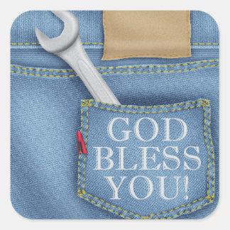 Dios le bendice pegatina de los tejanos