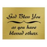 Dios le bendice pues usted ha bendecido otros postal