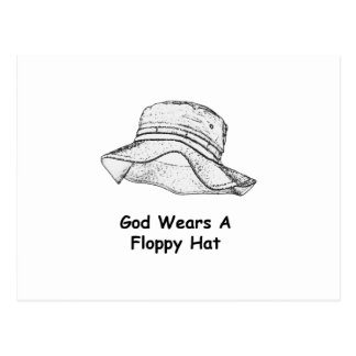 Dios lleva un gorra flojo postal