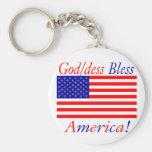 ¡Dios/los dess de Glowees bendice América! Llaveros