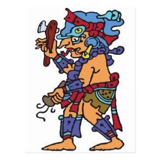 Dios maya de la lluvia coloreado postal