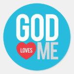 Dios me ama pegatina redonda