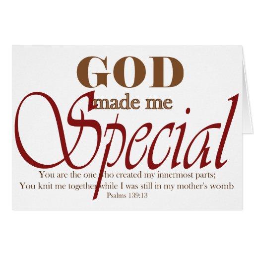 Dios me hizo especial tarjeta de felicitación