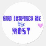 Dios me inspira etiqueta redonda