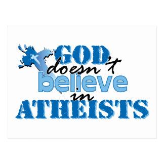 Dios no cree en ateos postales