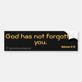 Dios no le ha olvidado las citas cristianas pegatina para coche
