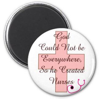 Dios no podría por todas partes CUIDA la cruz rosa Imán Para Frigorífico