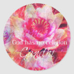 Dios no tiene ninguna religión - cita de Gandhi Pegatina Redonda
