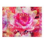 Dios no tiene ninguna religión - cita de Gandhi Postal