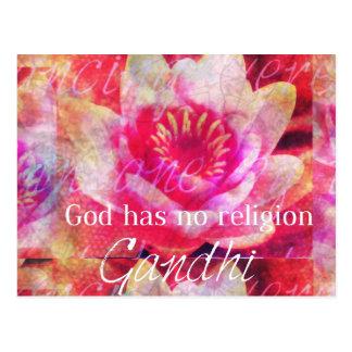 Dios no tiene ninguna religión - cita de Gandhi Tarjetas Postales