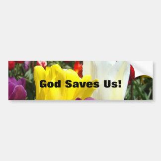 ¡Dios nos ahorra! flores del tulipán de las pegati Pegatina De Parachoque