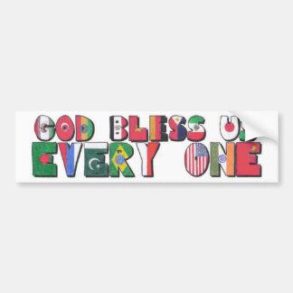 Dios nos bendice todos etiqueta de parachoque