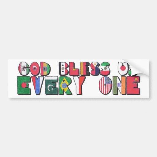 Dios nos bendice todos pegatina para auto
