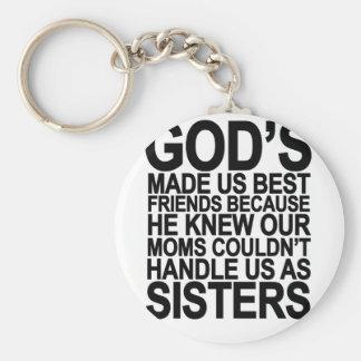 Dios nos hizo a mejores amigos porque… png llavero redondo tipo pin