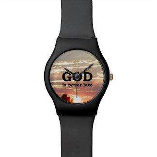 DIOS nunca es atrasado Reloj De Mano