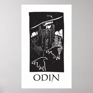 Dios Odin de los nórdises con 2 cuervos Póster