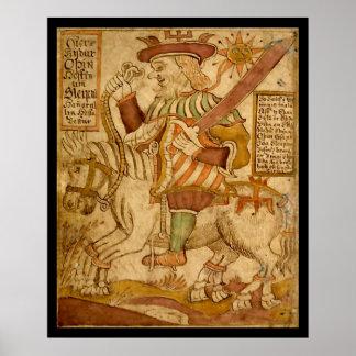 Dios Odin en su caballo Ocho-legged Sleipnir Póster