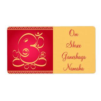 Dios OM Ganesha en rojo Etiquetas De Envío