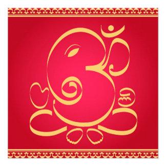 Dios OM Ganesha en rojo Invitaciones Personalizada