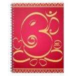 Dios OM Ganesha en rojo Libro De Apuntes