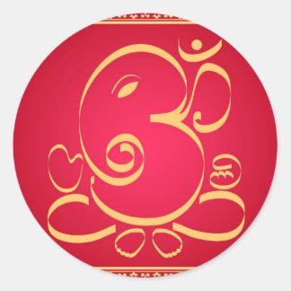 Dios OM Ganesha en rojo Etiquetas Redondas