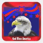 Dios patriótico bendice América con los pegatinas Calcomania Cuadrada Personalizada
