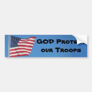 ¡DIOS protege a nuestras tropas! Pegatina Para Auto