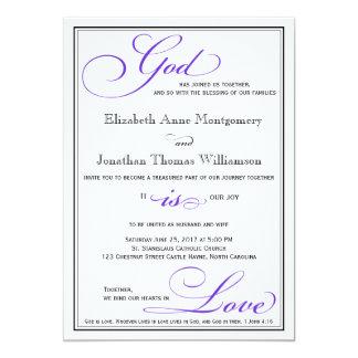 Dios púrpura es invitación cristiana del boda del