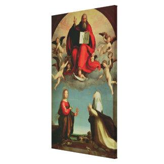 Dios que aparece a St Mary Magdalen y St. Catheri Impresión En Lona Estirada
