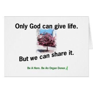 Dios que comparte vida tarjeta de felicitación