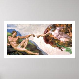 Dios que crea a Adán (detalle) por Miguel Ángel Poster