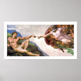 Dios que crea a Adán (detalle) por Miguel Ángel Póster