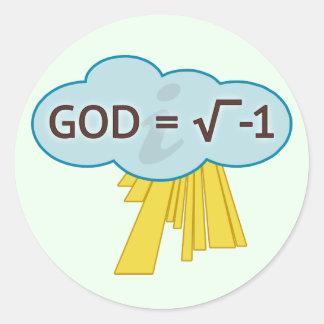 Dios = raíz cuadrada de -1 pegatinas pegatina redonda
