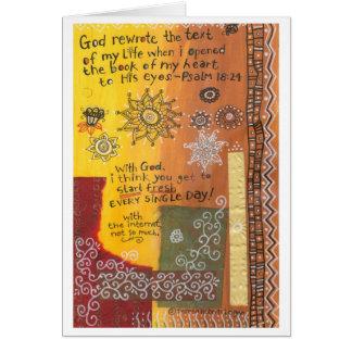 Dios reescribió/comienzo fresco tarjeta de felicitación