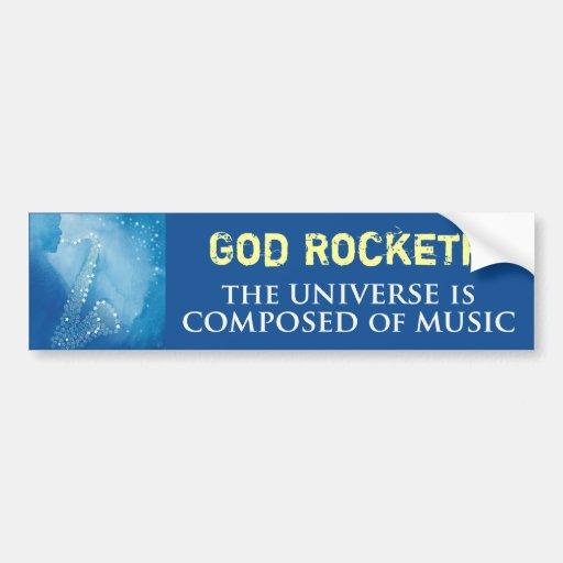 Dios Rocketh Pegatina De Parachoque