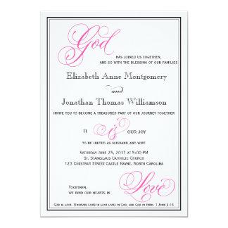 Dios rosado es invitación cristiana del boda del