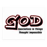 Dios se especializa en cosas pensó imposible tarjetas postales
