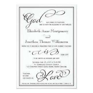Dios simple es invitación cristiana del boda del