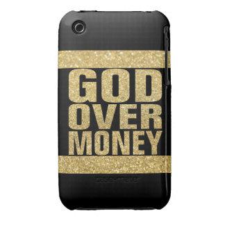 Dios sobre el dinero - falso brillo del oro Case-Mate iPhone 3 coberturas
