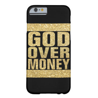 Dios sobre el dinero - falso brillo del oro funda de iPhone 6 barely there