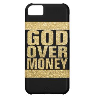 Dios sobre el dinero - falso brillo del oro funda para iPhone 5C
