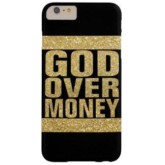 Dios sobre el dinero - falso brillo del oro funda para iPhone 6 plus barely there