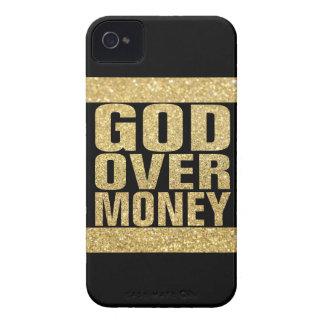Dios sobre el dinero - falso brillo del oro iPhone 4 protectores