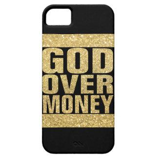 Dios sobre el dinero - falso brillo del oro iPhone 5 fundas