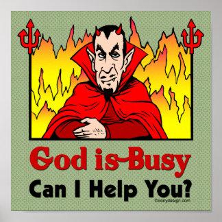 ¿Dios soy ocupado, puedo ayudarle? Póster