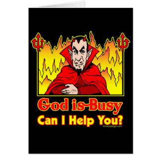 ¿Dios soy ocupado, puedo ayudarle? Tarjeta De Felicitación