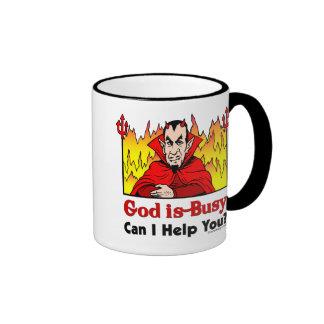 ¿Dios soy ocupado, puedo ayudarle? Taza De Dos Colores