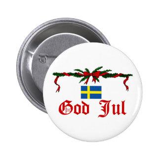 Dios sueco julio (Felices Navidad) Pin Redondo 5 Cm