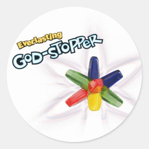 Dios-tapón eterno pegatina redonda